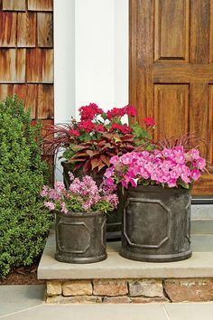 Pink Nature-Inspired Planters - 121 Container Gardening Ideas - Southernliving. The natural hues of the sweet potato vine and pennisetum make the trio of pink geraniums, petunias, and angelonias pop.