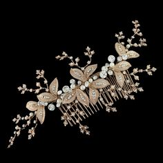 Gorgeous! Rose Gold Plated Ivory Pearl and Rhinestone Bridal Comb--Affordable Elegance Bridal -