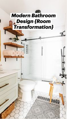 Guest Bathrooms, Upstairs Bathrooms, Bathroom Renos, Remodel Bathroom, Cheap Bathrooms, Shiplap In Bathroom, Round Bathroom Mirror, Painted Bathroom Cabinets, Brass Bathroom Fixtures
