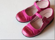 glitter to disguise kids' scuffed shoes