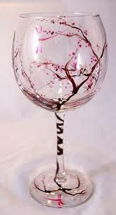 Hand painted art on wine glass. Cherry Blossoms... Yup. Pretty sure I could manage this :)