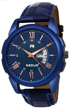 Day And Date Display Watch Strap Colour : Blue, Watch Strap Material : Leather, Case shape-Round Suitable for Party Wedding, Formal and Casual Occasion Buy From Original Seller Redux Store Manufacturing Warranty alsoWorks on Japanese Quartz Movement Latest Watches, Best Watches For Men, Watches Online, Trendy Watches, Boys Watches, Wrist Watches, Men's Watches, Analog Watches, India