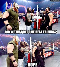 Did we just become friend? - wwe & wwf News Wrestling Memes, Watch Wrestling, Dude Perfect Merchandise, Wwe Quotes, The Wyatt Family, Wwe Raw And Smackdown, Roman Reigns Dean Ambrose, Wwe Funny, The Shield Wwe