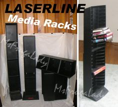 See a variety of LASERLINE media Racks for CD Jewel Cases, DVD Cases, VHS Boxes, and AudioTape CASSETTE Tape-Cases [MsFrugaLady on eBay, Listing ends 3/31/2014]