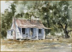 """fycharleston: """" Lowcountry Cabin Art by Ray Ellis """" Watercolor Pictures, Virtual Art, Southwest Art, Mural Wall Art, Country Artists, Rustic Outdoor, Low Country, Magazine Art, Watercolor Landscape"""