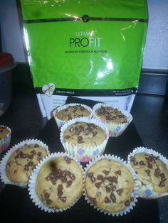 SUPER MOIST ~ Vanilla ProFIT Banana Chip Muffins Prep Time 20 minutes Cook Time 17-20 minutes Yields 36 muffins INGREDIENTS: 4 Scoops It Works Vanilla ProFIT 2 cups all-purpose flour 1 teaspoon baking soda 1/2 teaspoon salt 3/4 cup packed brown sugar 2 beaten eggs 3 1/4 cups mashed overripe banana's 1 12 bag Nestle Mini Milk Chocolate Chips