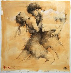 In Sync - Drawing by Russian born, Montgomery, Alabama based artist Andre Kohn Love Painting, Painting & Drawing, Tango Art, Dance Paintings, Illustration Art, Illustrations, Oeuvre D'art, Figure Drawing, Figurative Art