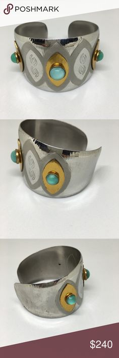 Silver and gold with aqua stones cuff bracelet. Beautiful clean color aqua stones on gold on silver metal. Stamped Moda hand made in Malta. Jewelry Bracelets