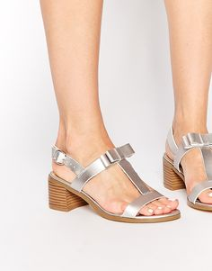New Look | New Look Padstow Silver Mid Heeled Sandals at ASOS