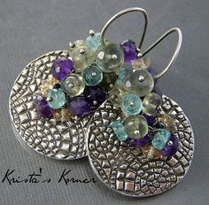 Gypsy   PMC Recycled Silver & Gemstone Earrings by kristaskorner