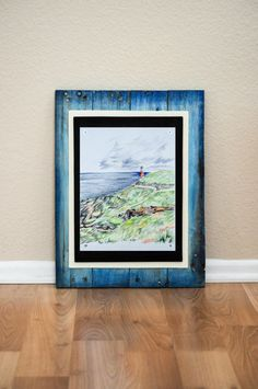Wood Wall Art and Lone Lighthouse Art Print by CreativesByCourtney on Etsy