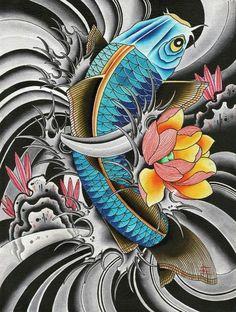 Blue Koi by English Asian Japanese Fish Peony Tattoo Canvas .- Blue Koi by English Asian Japanese Fish Peony Tattoo Canvas Art Print - Pez Koi Tattoo, Carp Tattoo, Thai Tattoo, Japanese Tattoo Designs, Japanese Tattoo Art, Koi Tattoo Design, Japanese Wall Art, Japanese Koi, Japanese Sleeve