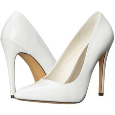 Michael Antonio Lamiss - Patent (White Patent) High Heels ($12) ❤ liked on Polyvore featuring shoes, pumps, heels, sandals, white, white pumps, pointy-toe pumps, white patent leather shoes, white pointed-toe pumps and white high heel shoes