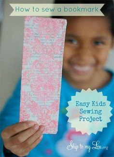 How to sew a bookmark! An easy sewing craft to teach kids how to sew. #sew #kids skiptomylou.org