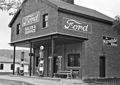 Vintage Gas Station Photography Black And White