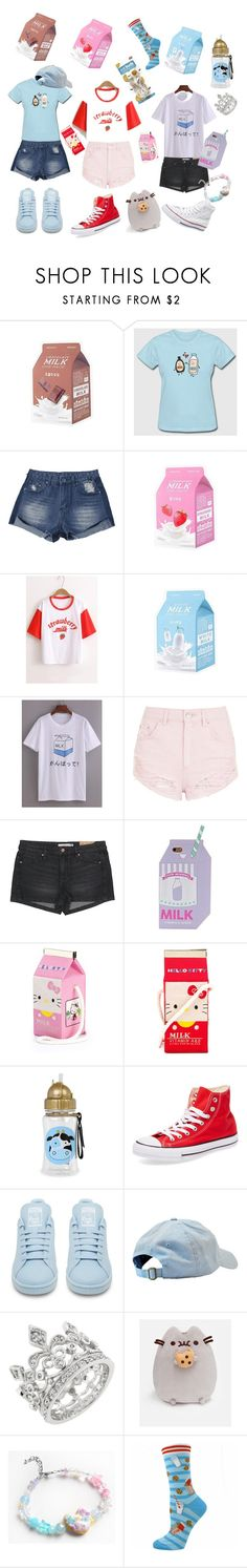 """Milks and cookies"" by rainythedarklord ❤ liked on Polyvore featuring Topshop, H&M, Olympia Le-Tan, Converse, adidas, DCI and Pusheen"