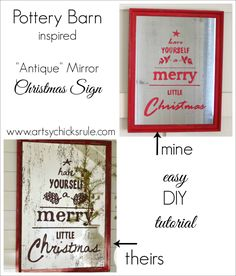 Pottery Barn Inspired Christmas Antique Mirror Tutorial