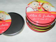 Customized Photo Magnets or Buttons -  Baby Birth Announcement, Party Favor, Christening, Baptism, Graduation