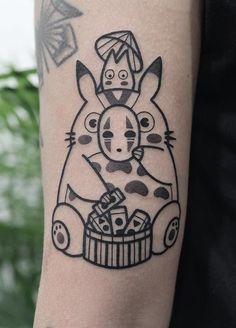 35 Cute Tattoo Designs by Hugo Tattooer - #tattoo #cute #kawaii #anime #ghibli #studioghibli #myneighbortotoro #totoro