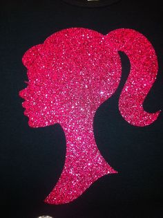 Custom Barbie Silhouette Shirt in Hot Pink Glitter for Princess or Birthday Girl Party Barbie Theme Party, Barbie Birthday Party, Girl Birthday, Glitter Wall Art, Barbie Bedroom, Custom Barbie, Barbie World, Barbie Life, Diy Wall Art