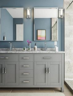 bathroom colors Adorable 40 Fabulous Grey And Blue Bathroom Design Ideas. Bathroom Colors, Small Bathroom, Blue Bathrooms Designs, Blue Bathroom, Bathrooms Remodel, Modern Classic Bathrooms, Classic Bathroom, Bathroom Design, Painting Bathroom