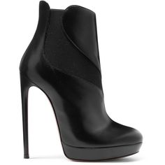 Alaïa Leather boots ($1,390) ❤ liked on Polyvore featuring shoes, boots, black, black leather shoes, alaia boots, kohl shoes, genuine leather shoes and leather boots
