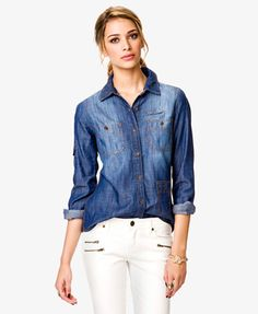 Button Pocket Chambray Shirt | FOREVER21 - 2021141472