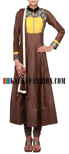 Buy Online from the link below. We ship worldwide (Free Shipping over US$100) http://www.kalkifashion.com/brown-anarkali-suit-featuring-in-zari-embroidery-only-on-kalki.html