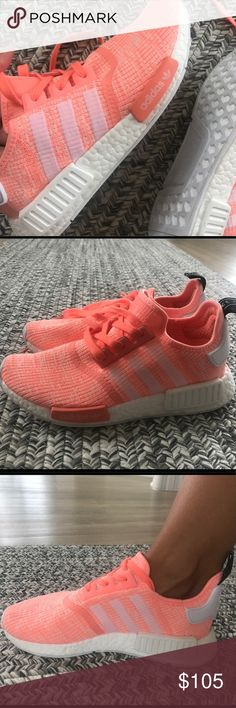 NEW super cute Adidas running shoes These are SO adorable. Wear it out for a run or just when you feel like looking cute In workout clothes :) They are size 8 in Adidas but their sizes run a little big so it fits like 8.5. See pictures for more ‍♀️ adidas Shoes