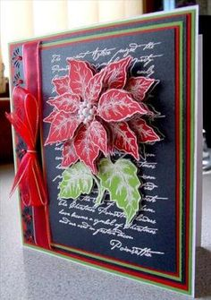 stamped and decoupage poinsettia Christmas cards