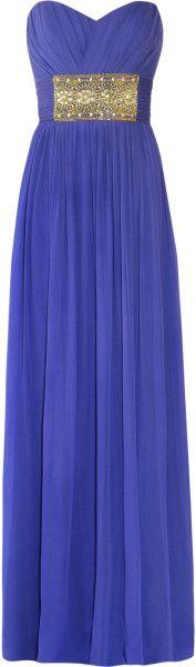 Notte By Marchesa Blue Strapless Embellished Silkchiffon Gown     jaglady