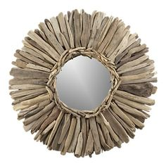 Crate and Barrel mirror made from driftwood