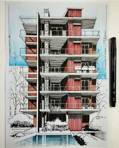 Architecture Concept Drawings, Architecture Sketchbook, Architecture Design, Sketches Arquitectura, Marker, Conceptual Drawing, Building Sketch, House Sketch, Interior Sketch