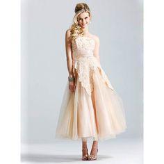 tea length gold wedding gowns   Make a thoughtful preparation before wedding - Evening Dresses Ireland