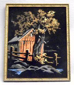 """Framed vintage """"Old Barn"""" black velvet paint-by-number painting. Number Art, Paint By Number, Buddha Canvas, Velvet Painting, African Art Paintings, Arts Ed, Fantasy Inspiration, Retro Art, Guilty Pleasure"""