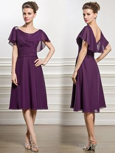 A-Line/Princess Cowl Neck Knee-Length Chiffon Mother of the Bride Dress With…
