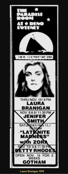 "Laura 1978, at ""Paradise Room"", Reno Sweeney, New York"