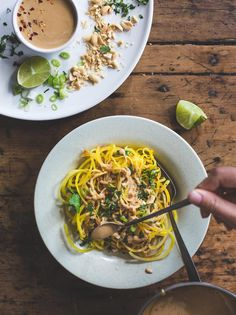 golden beet noodles with spicy peanut sauce - an easy, grain-free spiralized meal perfect for using up gorgeous famer's market beets this summer! | healthy recipe, gluten free, summer food, veggie noodles, zoodles |
