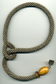 silver grey lauriat beaded crochet necklace