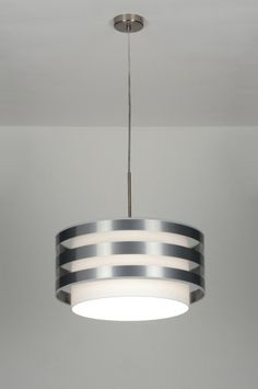 suspension 30406: moderne, design, aluminium, etoffe, blanc, rond ... Chandelier, Lamp, Deco, Interior Deco, Deco Chic, Home Decor, Elements Of Design, Ceiling Lights, Lights