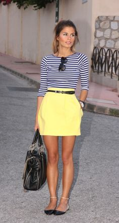 Navy stripes and yellow skirt.