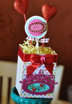 SWEET Party Centerpiece - Scrapbook.com- a handmade DIY centerpiece perfect for valentines day or an anniversary!