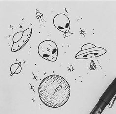65 ideas for easy art sketches doodles 65 ideas for easy art sketches doodles 65 ideas for easy art sketches doodles Alien Drawings, Space Drawings, Doodle Drawings, Easy Drawings, Tattoo Drawings, Drawing Sketches, Pencil Drawings, Ufo Tattoo, Drawing Ideas
