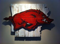 Wooden State of Arkansas with Razorback logo by CampgroundProduction on Etsy https://www.etsy.com/listing/227185365/wooden-state-of-arkansas-with-razorback