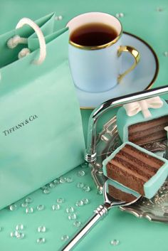 Tiffany--beautiful cup and saucer and the petit four looks delicious! I Love Coffee, Coffee Break, Coffee Time, Tea Time, Coffee Coffee, Coffee Club, Azul Tiffany, Tiffany And Co, Tiffany Blue
