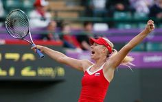 Tennis: Russia's Maria Sharapova celebrates after defeating Germany's Sabine Lisicki in their women's singles match during the London Olympics - 2012. (Stefan Wermuth/Reuters)