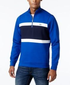 Lacoste Men's Quarter-Zip Colorblocked Fleece Sweater, A Macy's Exclusive Style - Gray 2XL