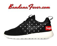 Custom Supreme Polka Dots Nike Roshe Run Shoes Black, #supreme, #style, #running, by Bandana Fever