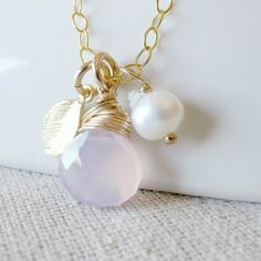 Gold Leaf Necklace, Lavender Gemstone Jewelry, Purple Chalcedony Necklace, Gold Wire Wrapped Necklace, Gold Leaf Jewelry, Leaf Charm Jewelry