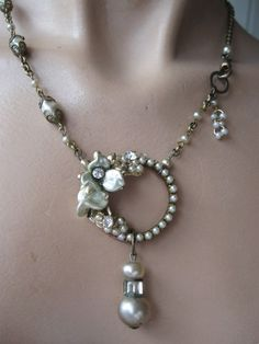 RESERVED FOR SUSAN Under The Harvest Moon ... vintage repurposed Miriam Haskell faux pearl necklace